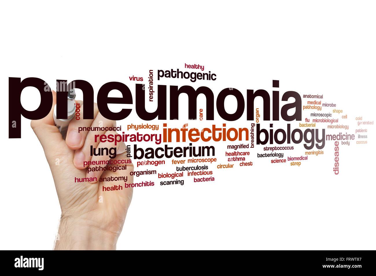 Pneumonia word cloud concept - Stock Image