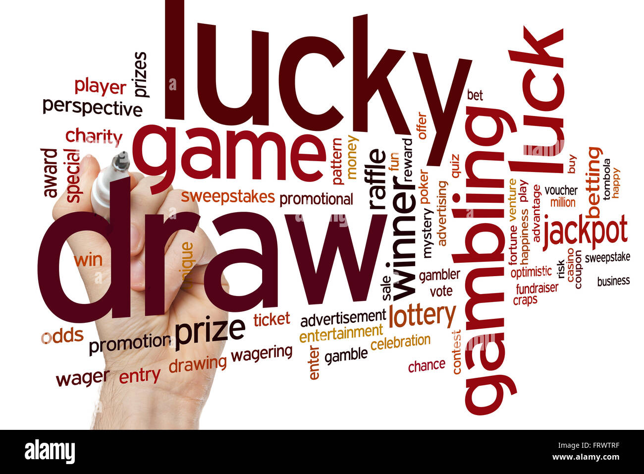 Lucky draw concept word cloud background - Stock Image