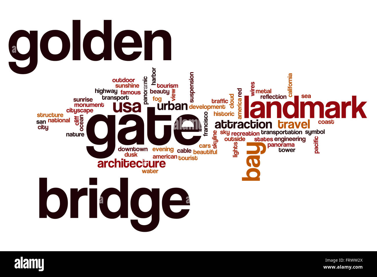 Golden Gate Bridge word cloud - Stock Image