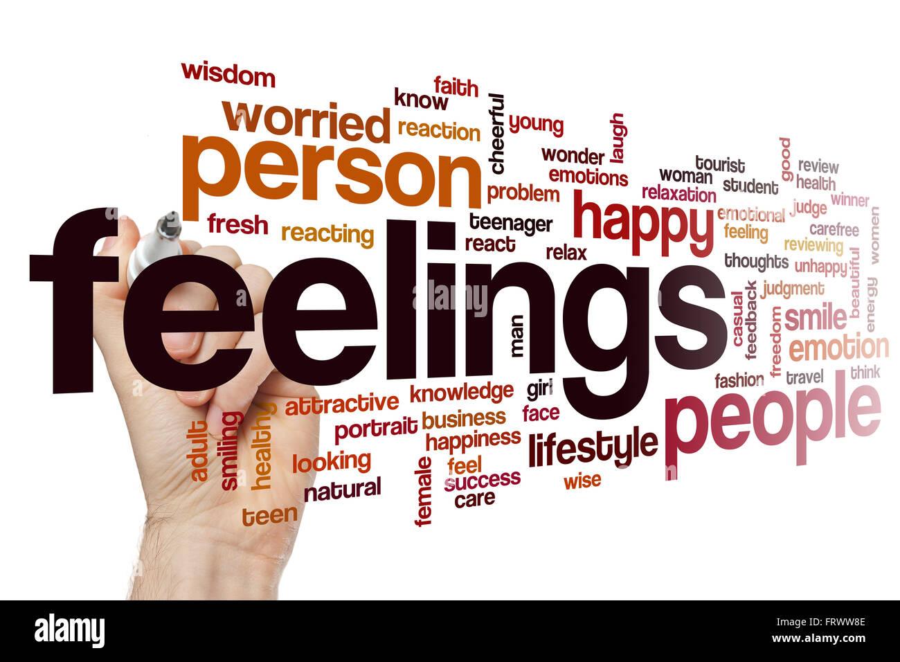 Feelings word cloud - Stock Image