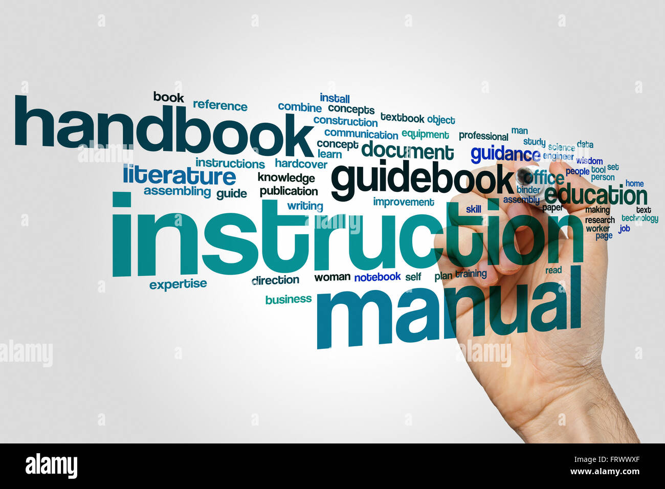instruction manual word cloud stock photo 100758071 alamy rh alamy com Written Study Guide Army Communications FM