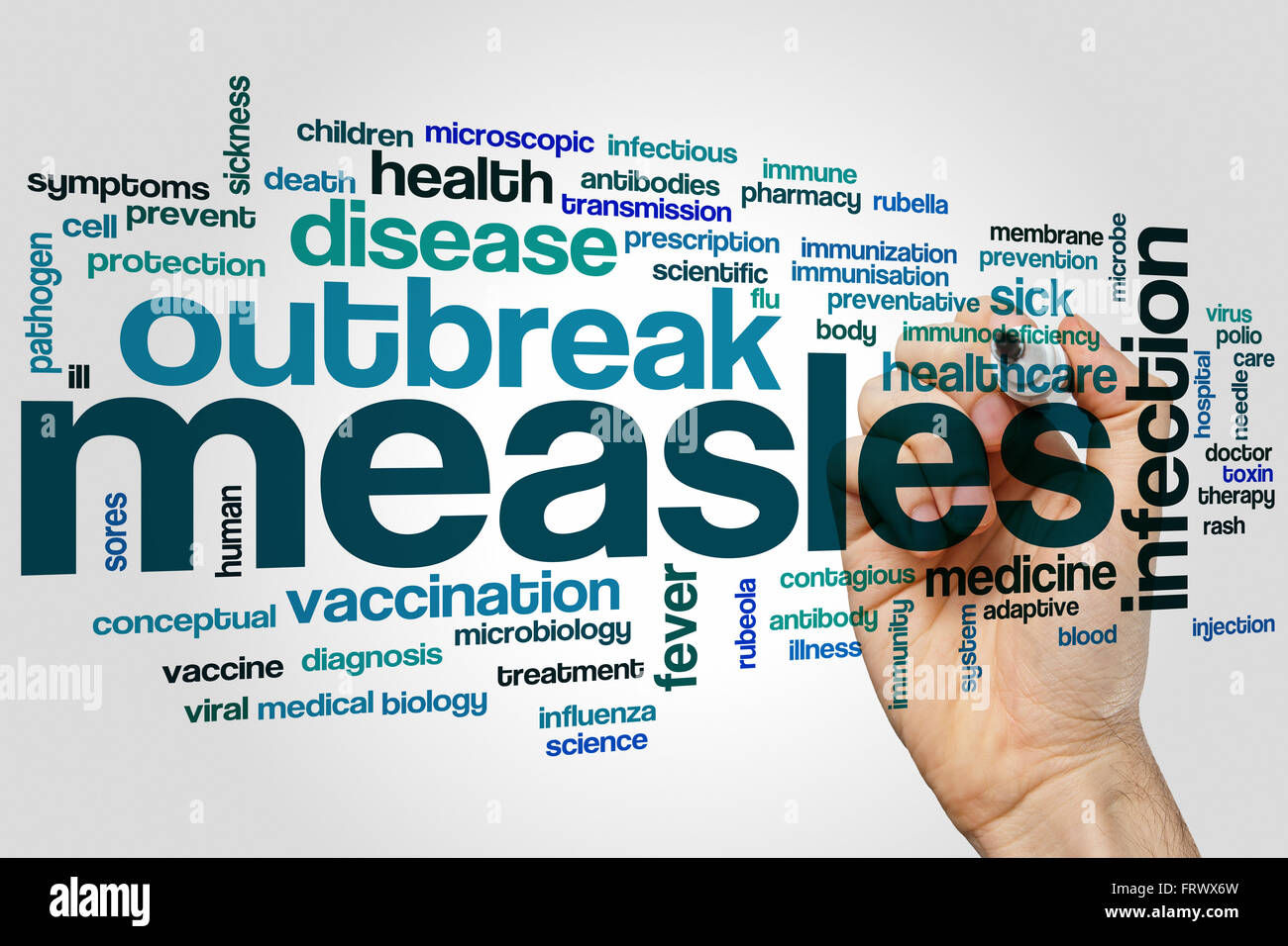 Measles word cloud concept - Stock Image