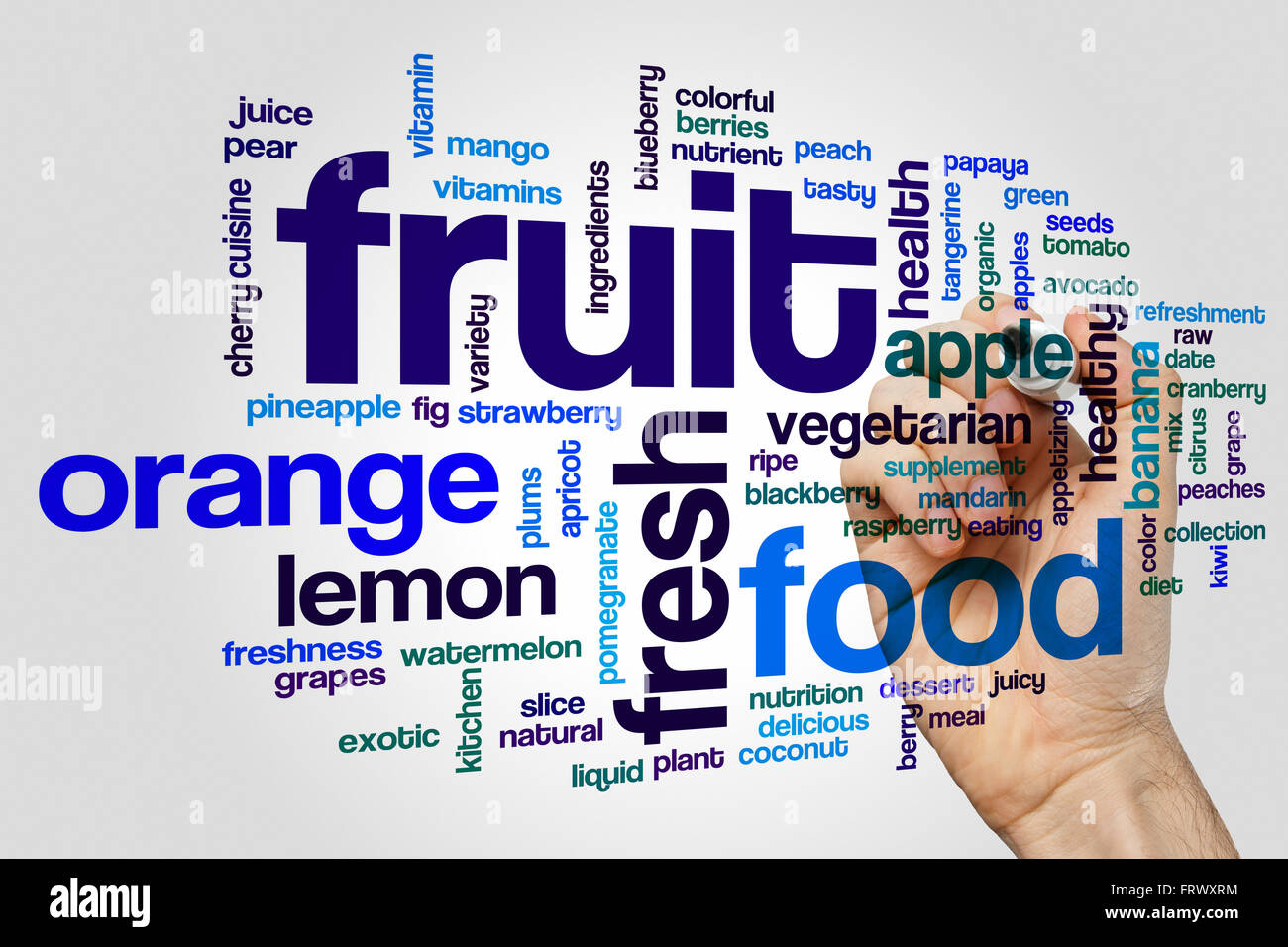 Fruit concept word cloud background - Stock Image