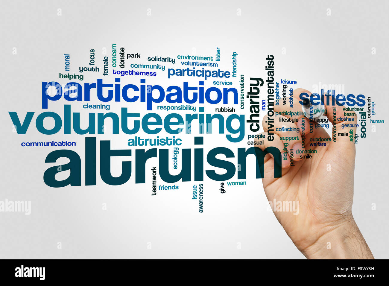 Altruism concept word cloud background - Stock Image