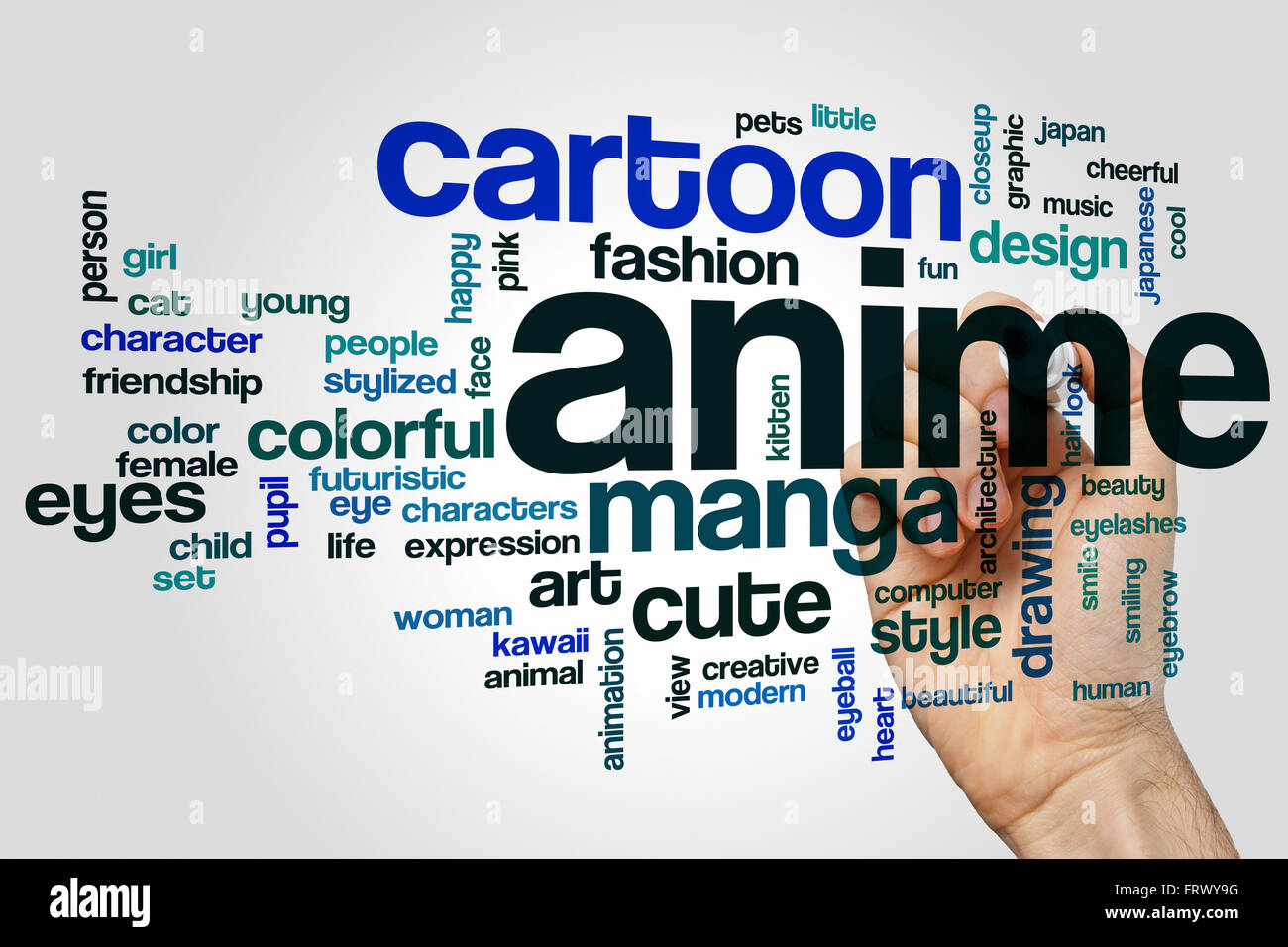 Anime word cloud concept with cartoon manga related tags