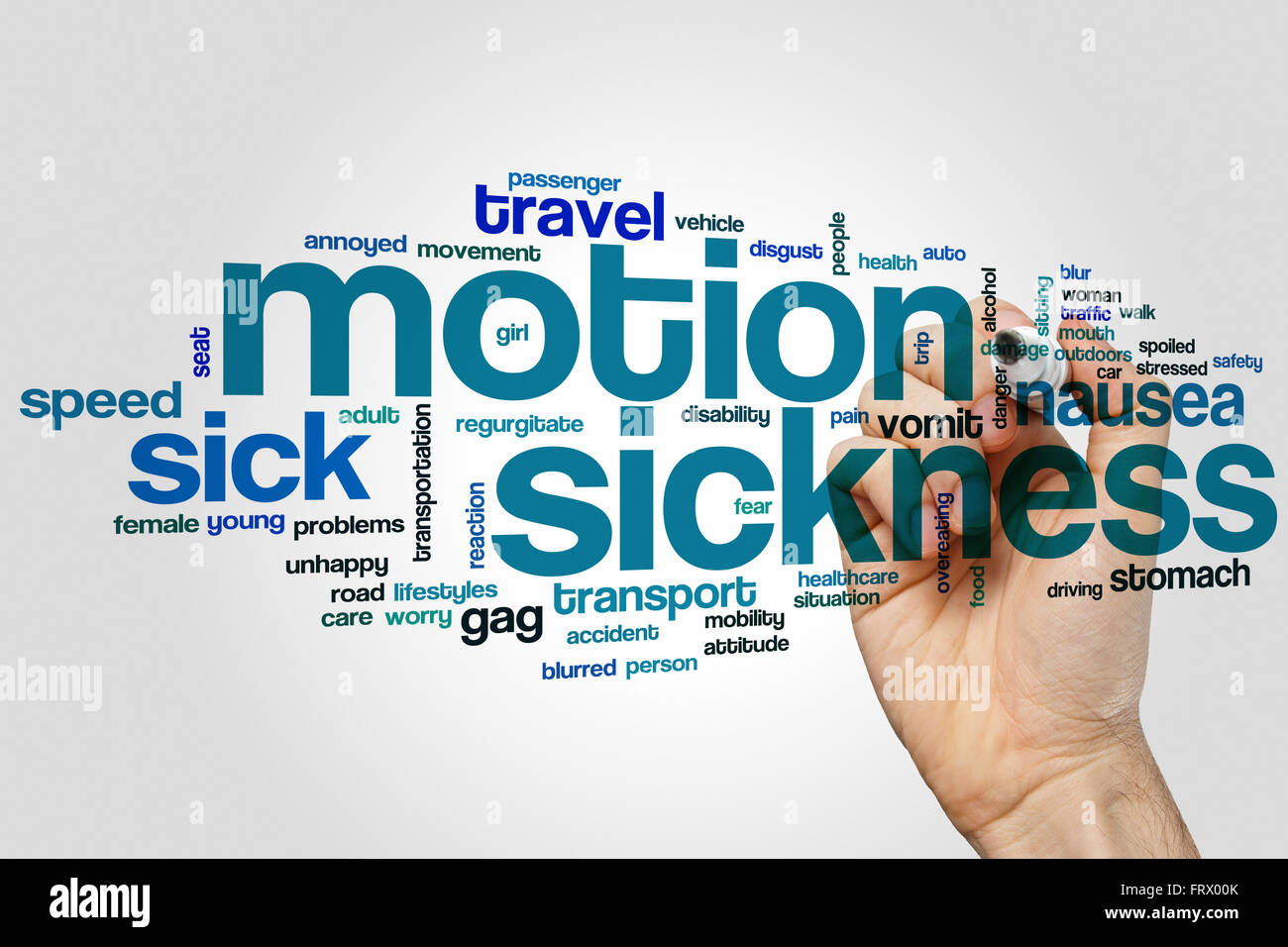 Motion sickness word cloud concept Stock Photo: 100759699