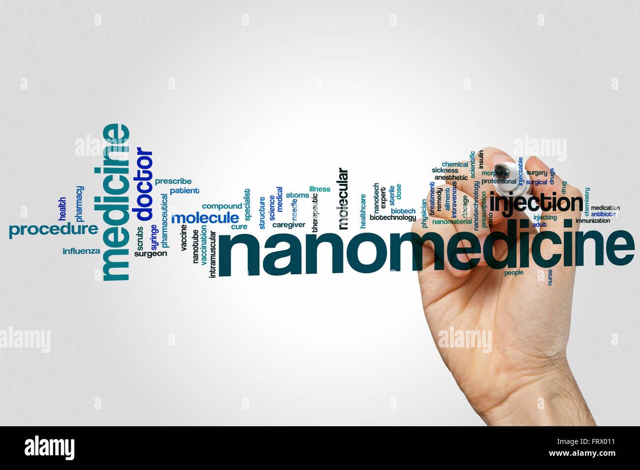Nanomedicine word cloud concept - Stock Image