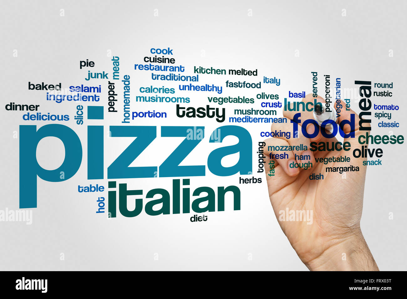 Pizza word cloud concept with italian food related tags ...