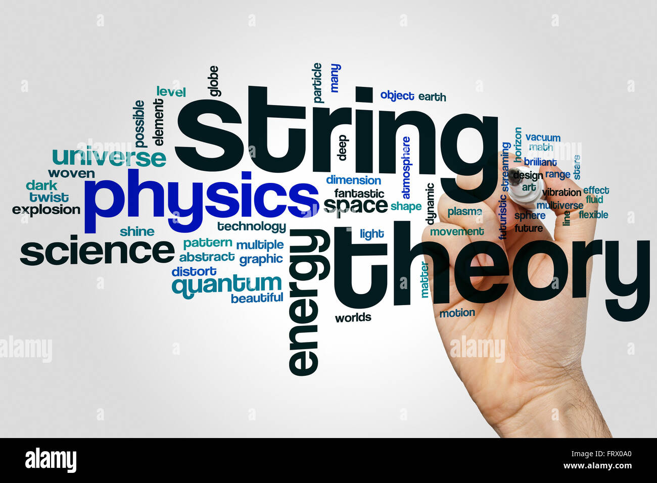 String theory word cloud concept - Stock Image