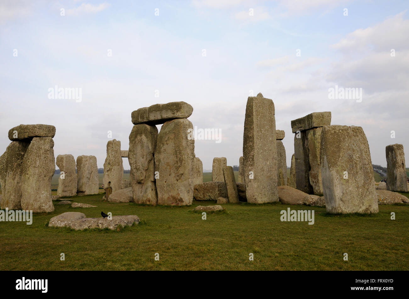 The standing stones at Stonehenge, an Iconic UNESCO World Heritage site in the English County of Wiltshire no far Stock Photo