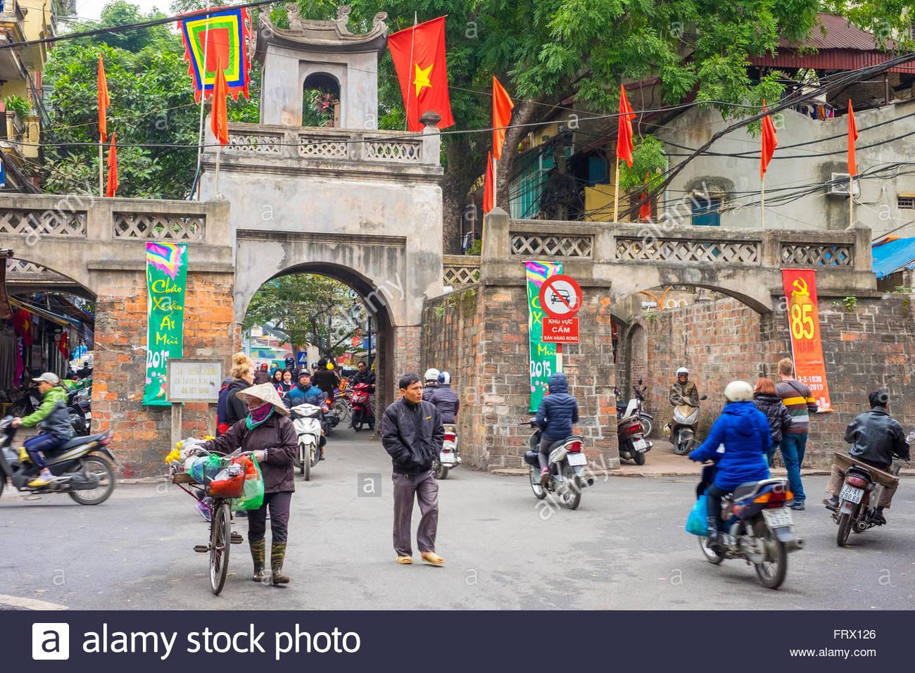 Quan Chuong Gate, old city gate, Hoan Kiem District, Old Quarter, Hanoi, Vietnam - Stock Image