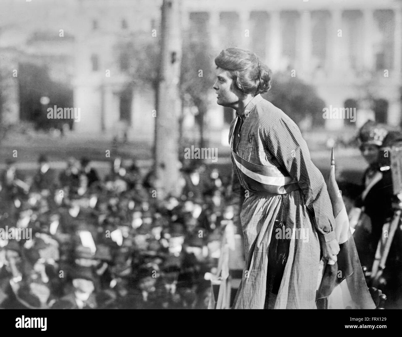 Lucy Gwynne Branham, an American suffragette and organizer for the National Women's Party, speaking at a rally - Stock Image