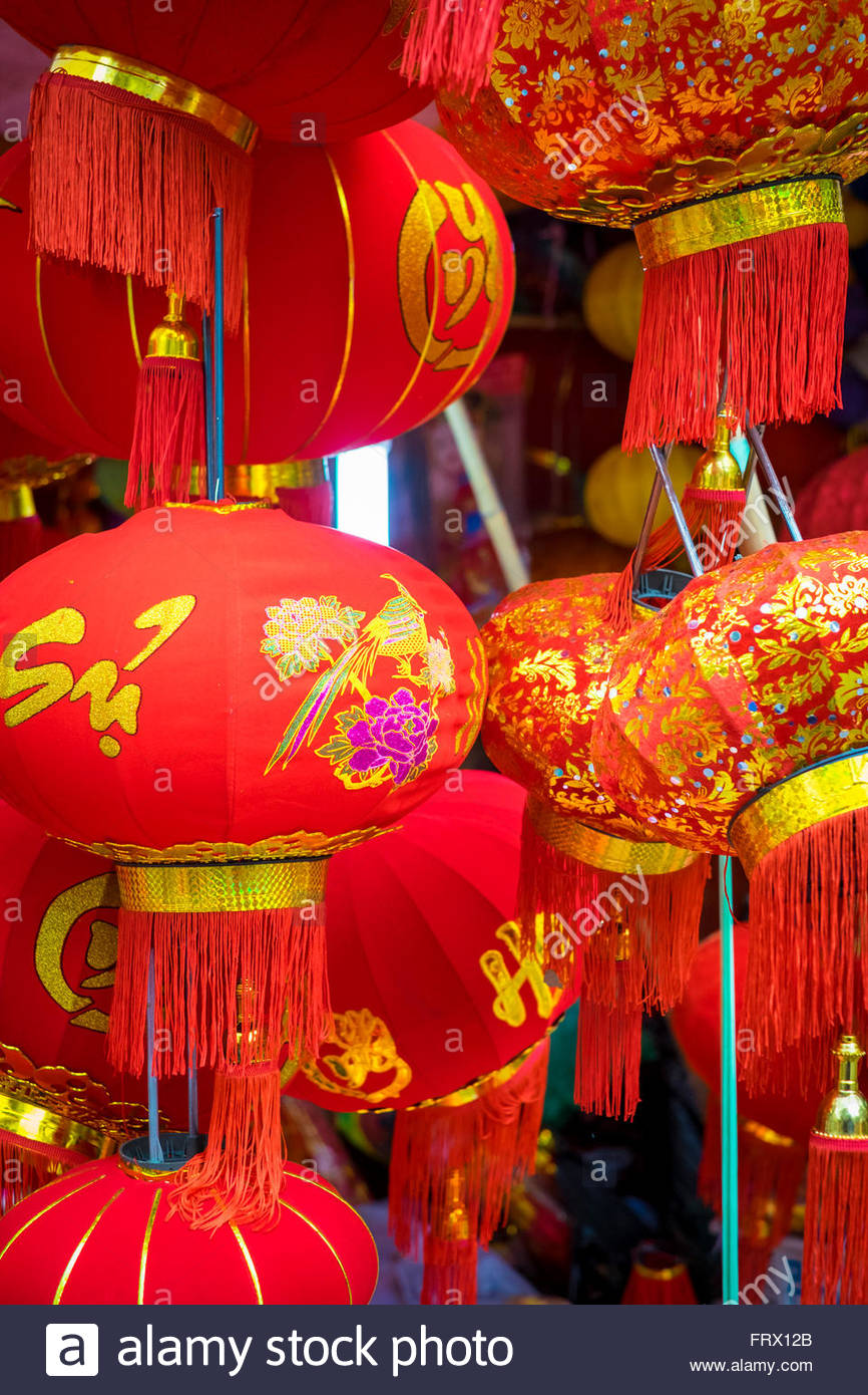 Red silk lanterns for sale during Vietnamese New Year (Tet), Hoan Kiem District, Old Quarter, Hanoi, Vietnam - Stock Image