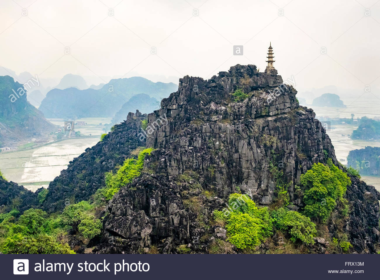Karst mountain landscape at Hang Mua, Ninh Hai, Hoa Lu District, Ninh Binh Province, Vietnam - Stock Image