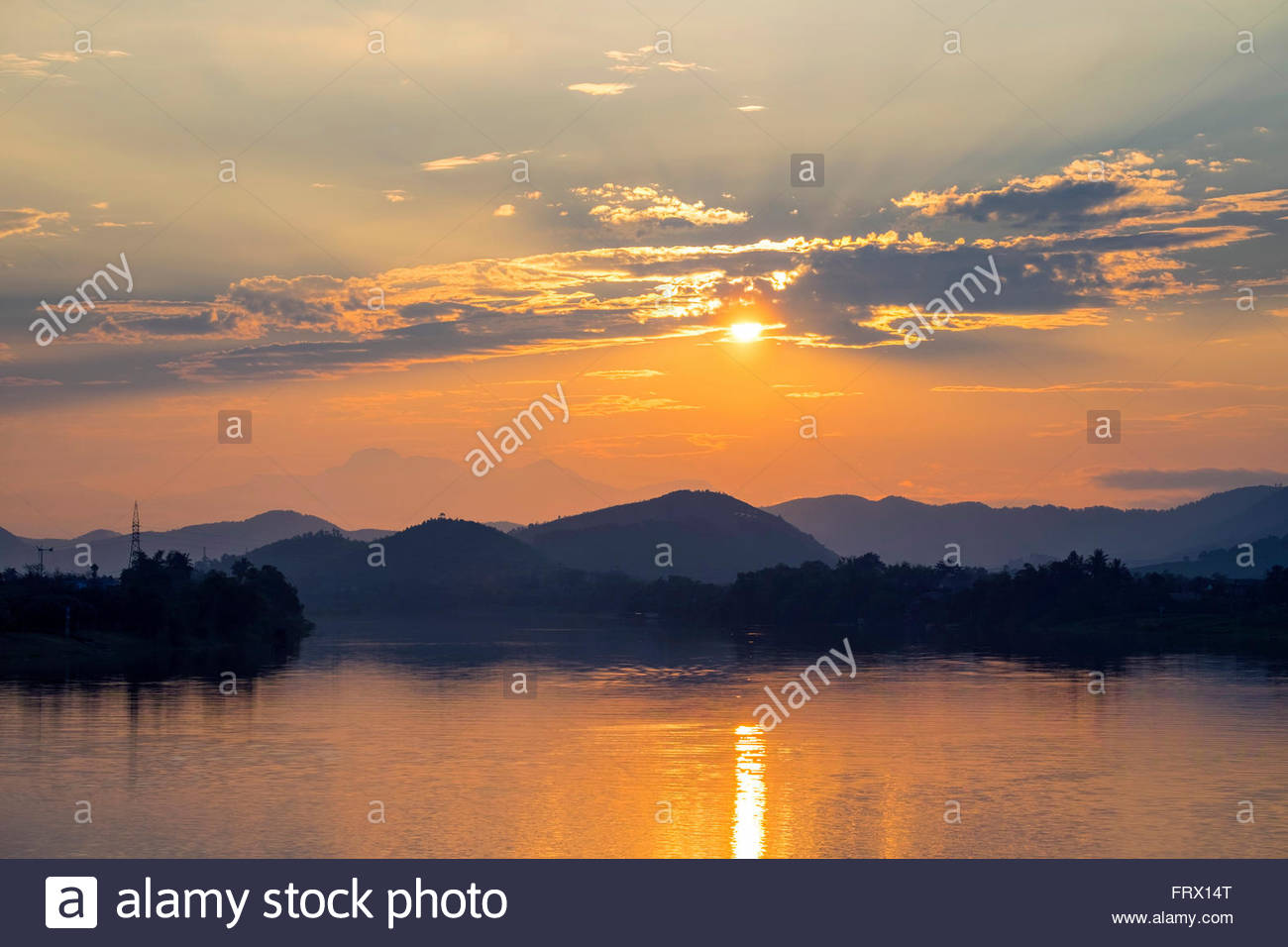 Sunset over the Perfume River, Hue, Thua Thien-Hue Province, Vietnam - Stock Image