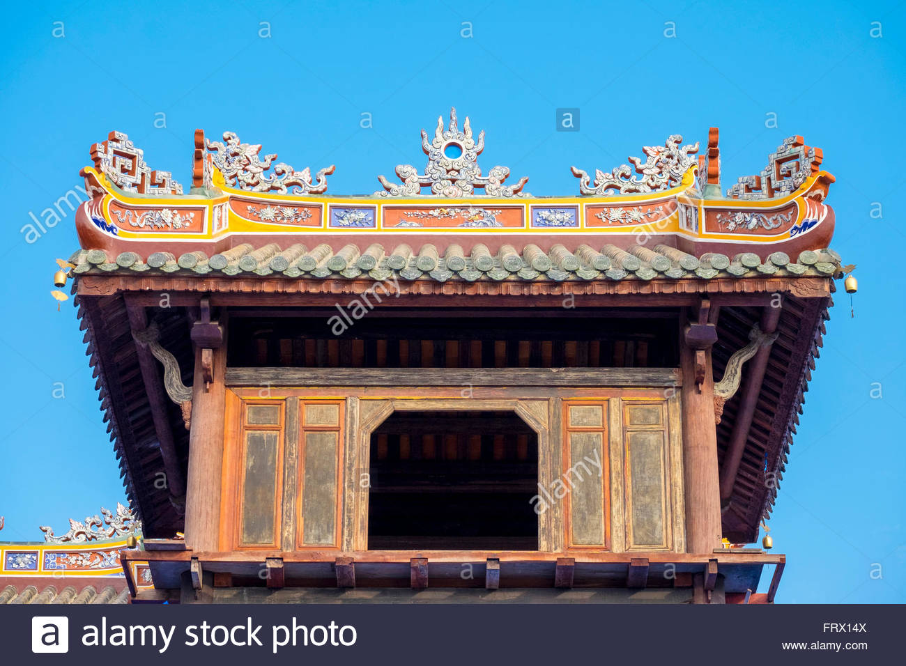 Detail of Noon Gate (Ngo Mon), the main gate to the Imperial City of Hue, Thua Thien-Hue Province, Vietnam - Stock Image