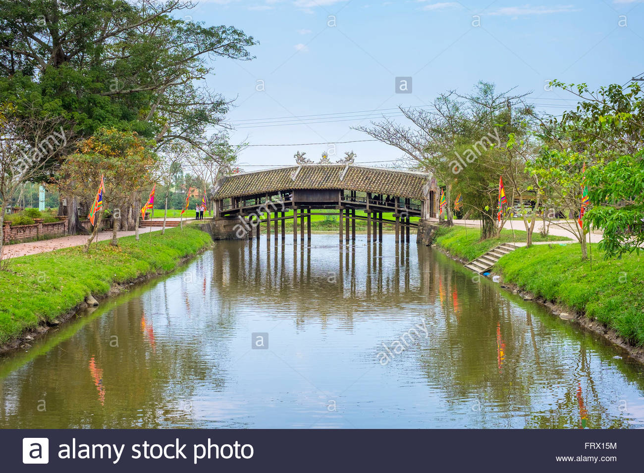 Thanh Toan Bridge, ancient Japanese bridge in Thuy Thanh village, Thua Thien-Hue Province, Vietnam - Stock Image