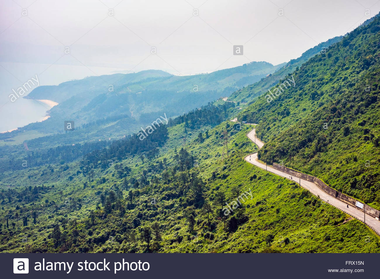 Winding road through Hai Van Pass, Da Nang, Vietnam - Stock Image