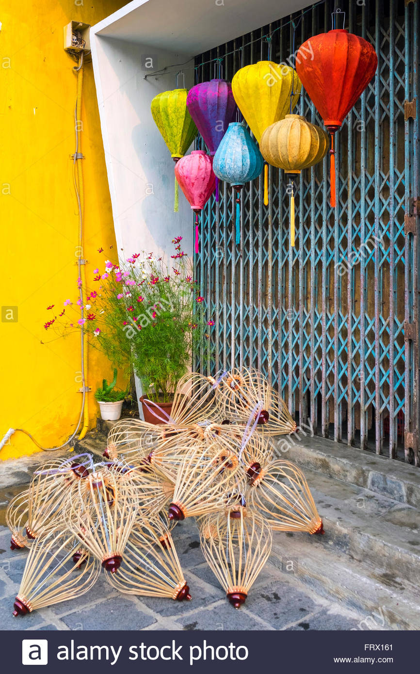 Unfinished silk lanterns on the street in Hoi An, Quang Nam Province, Vietnam - Stock Image