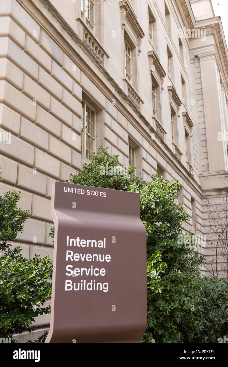 WASHINGTON, DC, USA - IRS building sign. Internal Revenue Service. - Stock Image