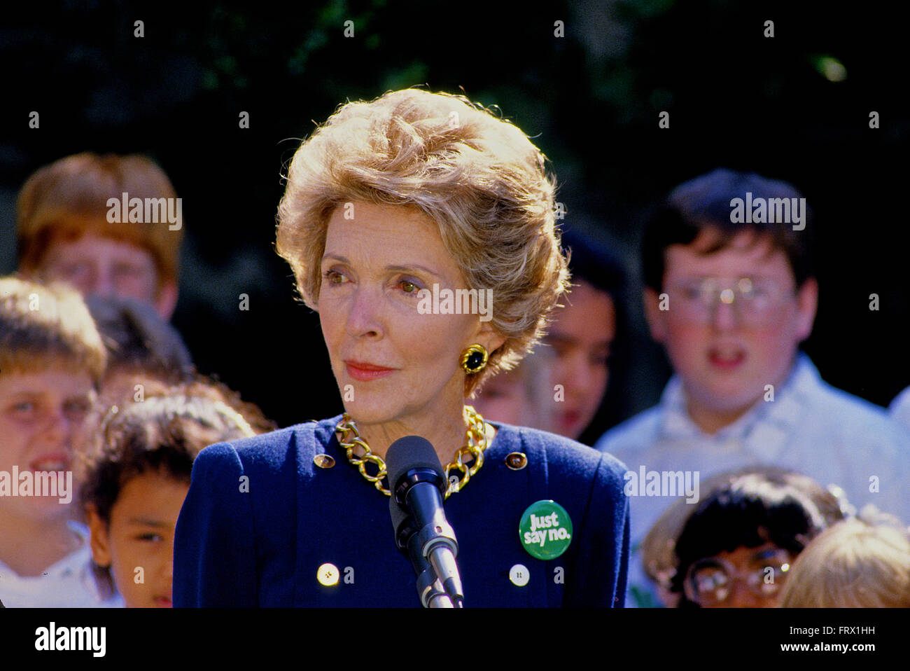 Washington, DC. 1987 First Lady Nancy Reagan addresses students about 'Just Say No To Drugs'  on the South - Stock Image