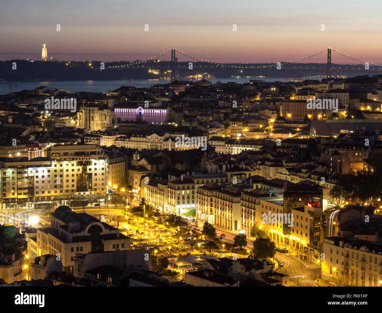 Beautiful view of Lisbon at night - Stock Image