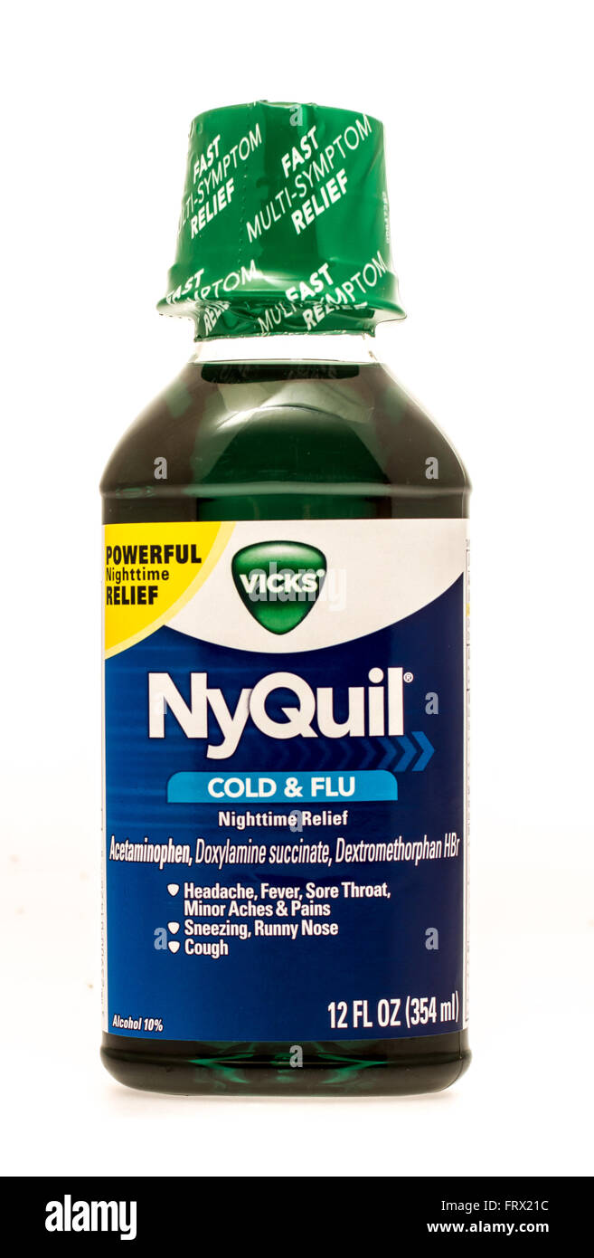 winneconne wi 1 oct 2015 bottle of nyquil cold and flu relief to