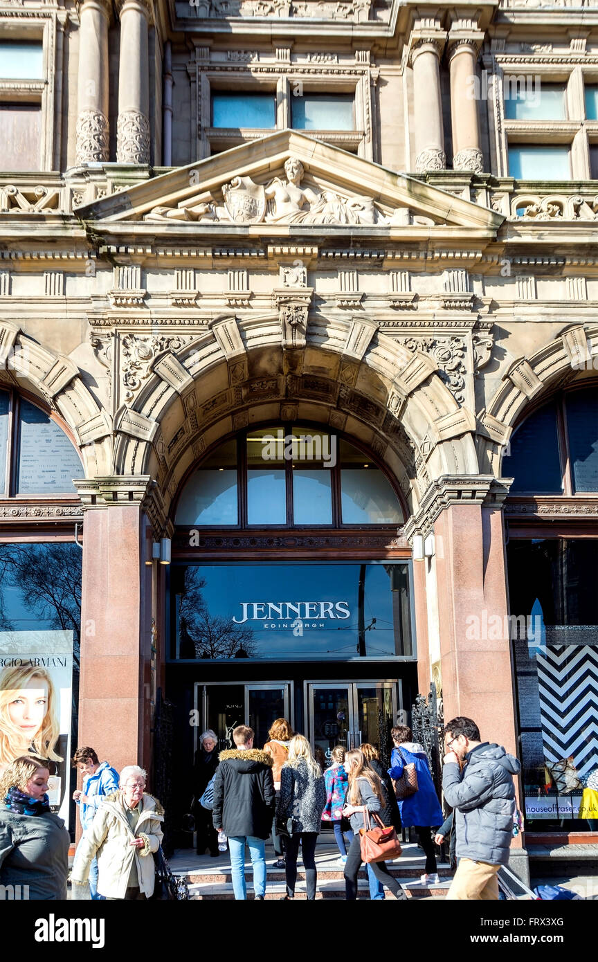 The entrance to the famous Jenners department store on Edinburgh's Princes Street. - Stock Image
