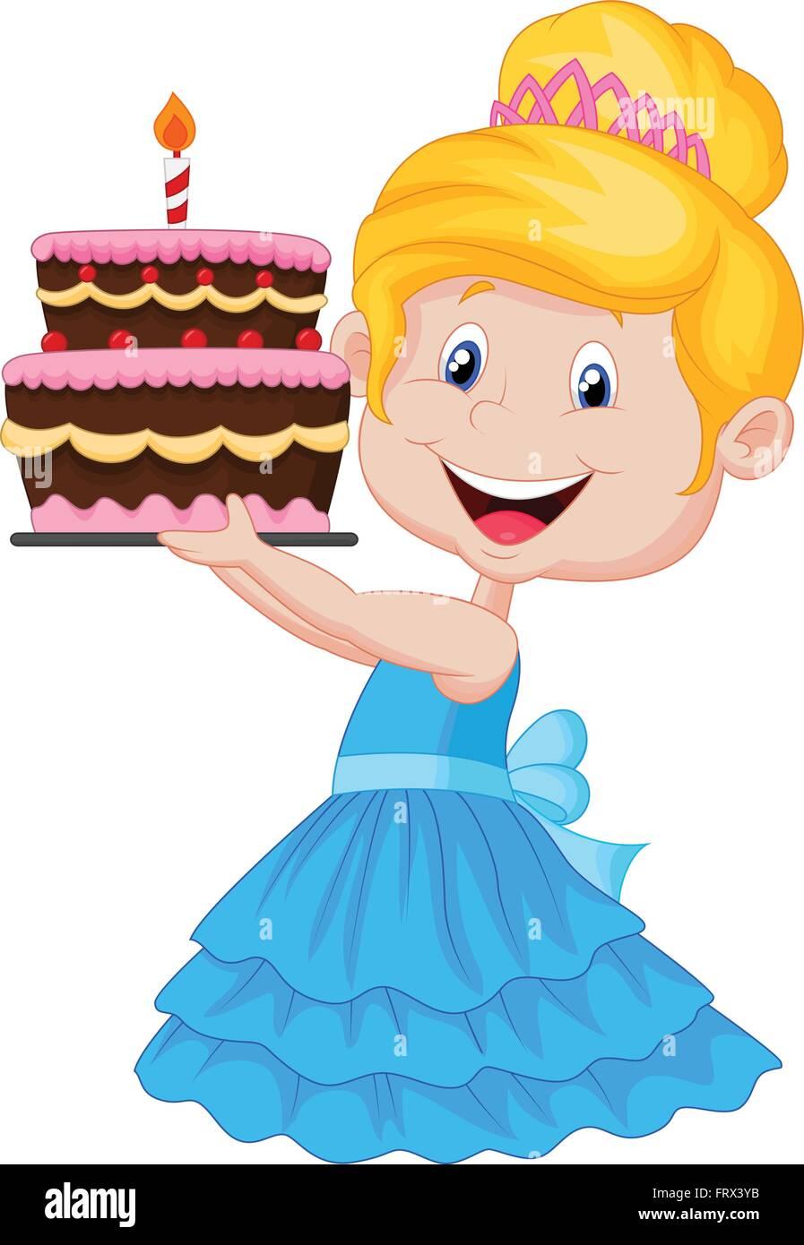 Awe Inspiring Little Girl With Birthday Cake Stock Vector Art Illustration Funny Birthday Cards Online Elaedamsfinfo