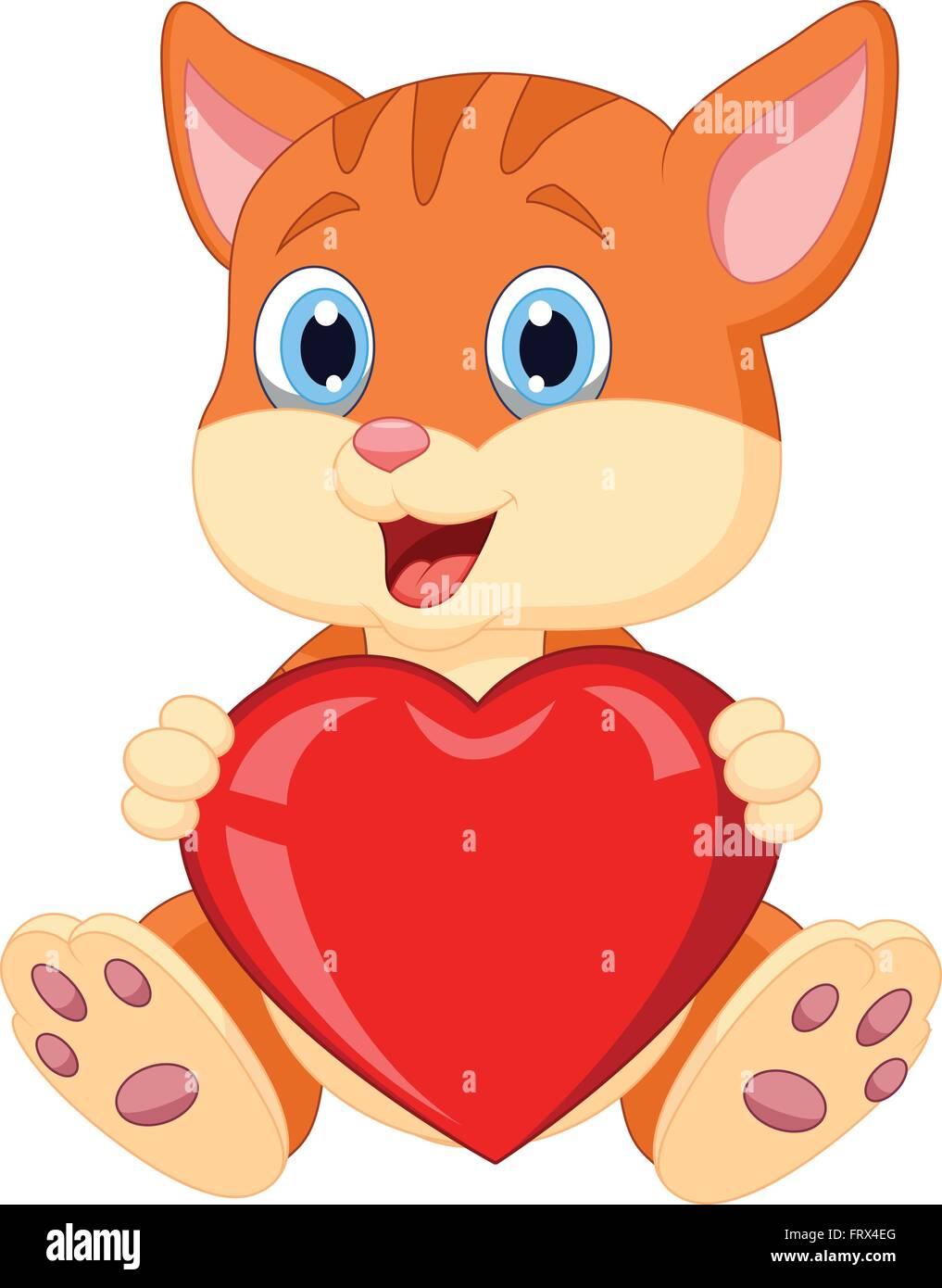 Cartoon cat holding red hart Stock Vector