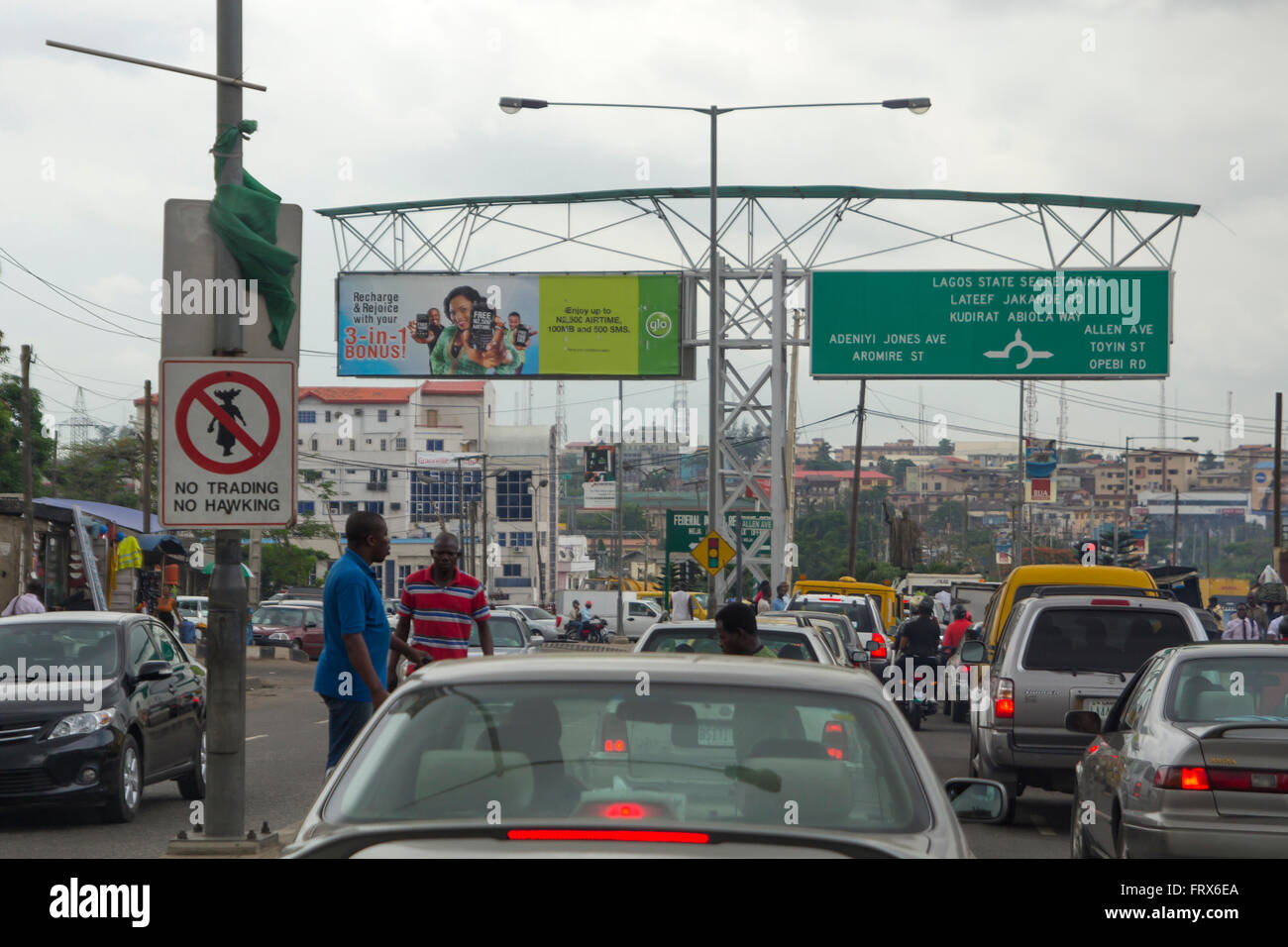 Traffic jam and city view of Lagos, the largest city in Nigeria and the African continent. - Stock Image