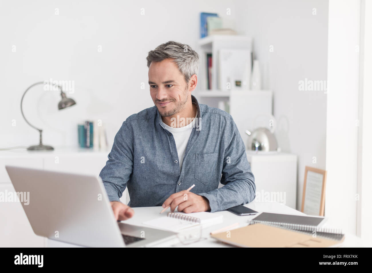 Portrait of a smiling grey hair man with beard, working at home on ...
