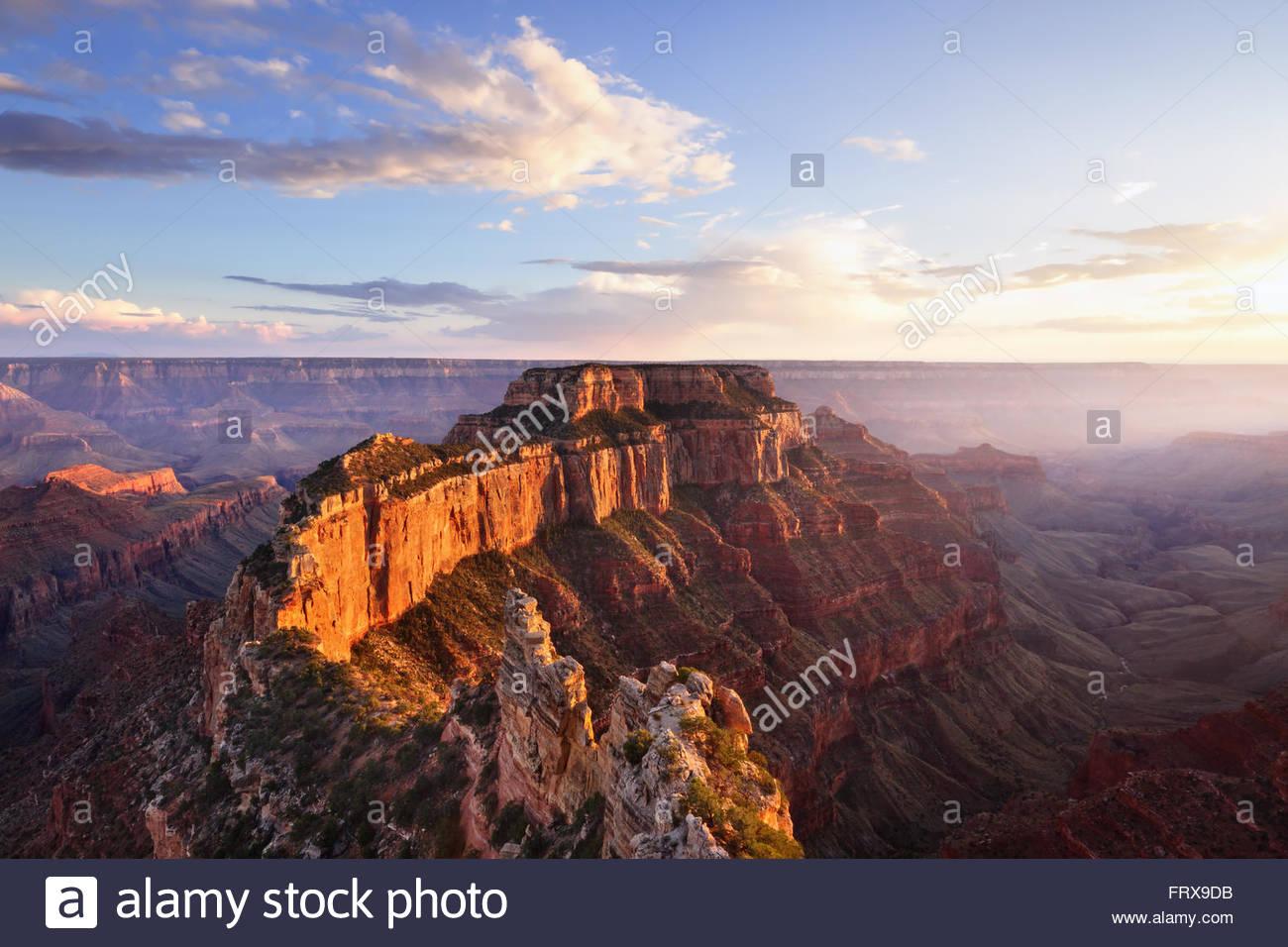 Wotans Throne, Cape Royal at Sunset, Grand Canyon North Rim, AZ - Stock Image