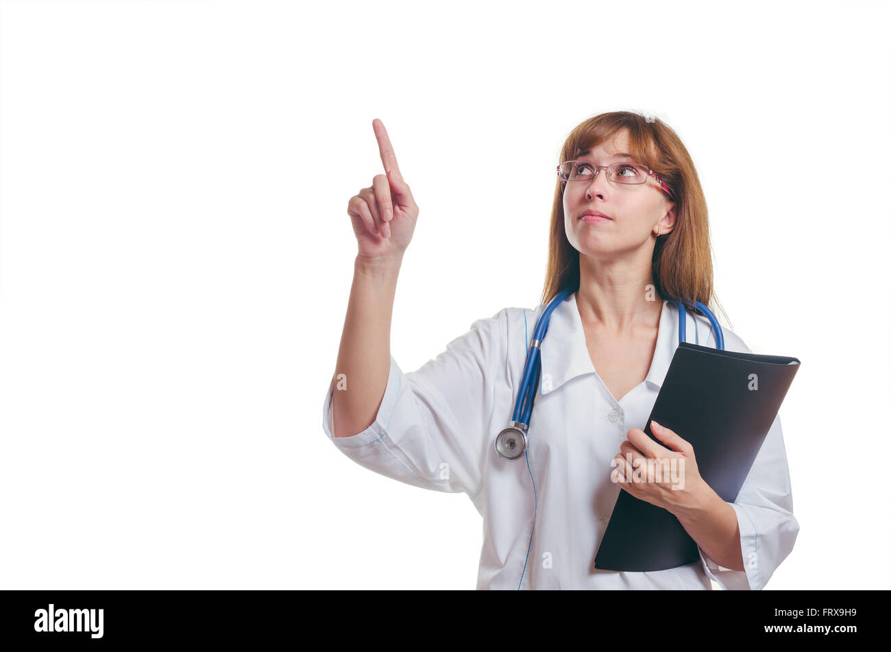 The doctor with the black folder shows a finger up - Stock Image