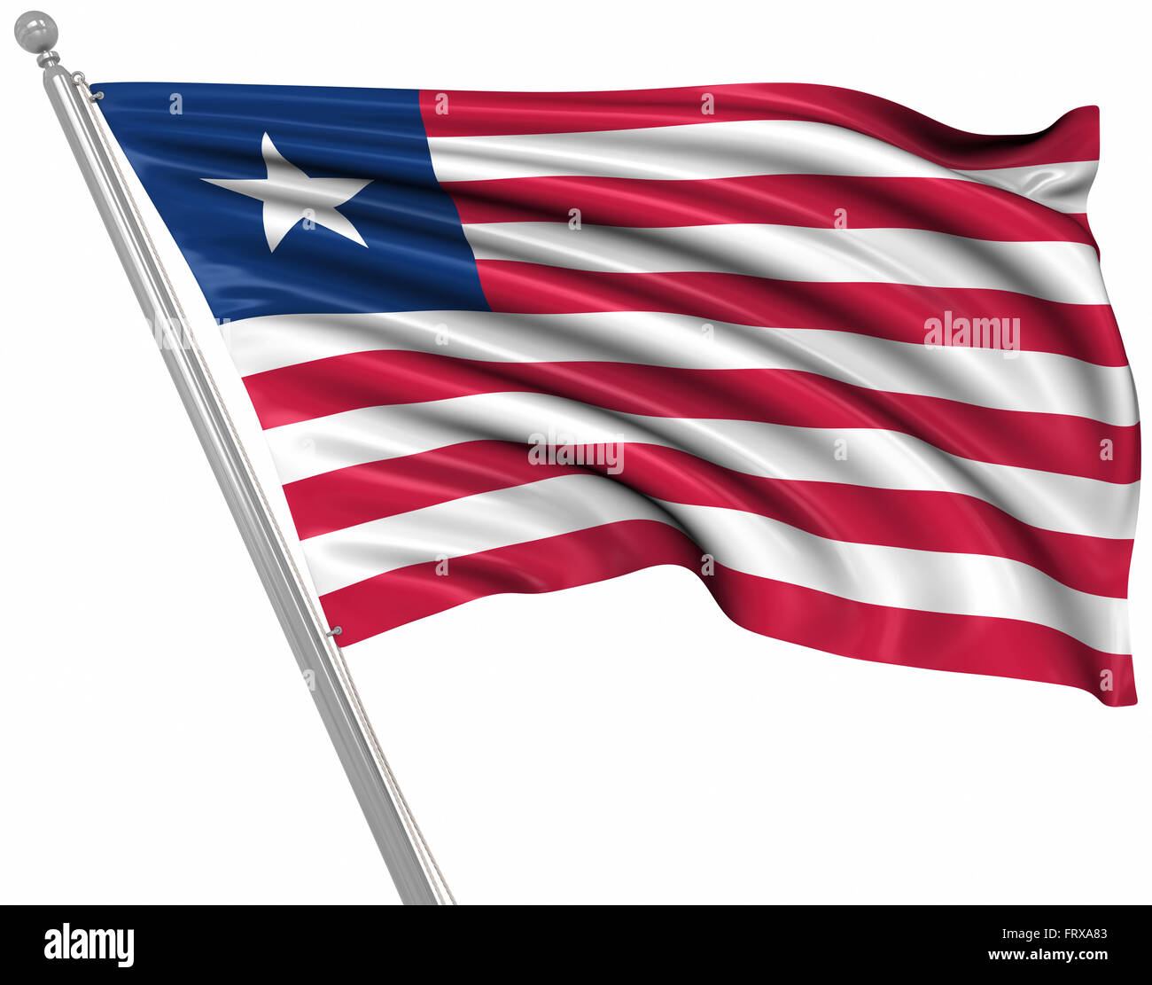 Flag of Liberia , This is a computer generated and 3d rendered image. - Stock Image