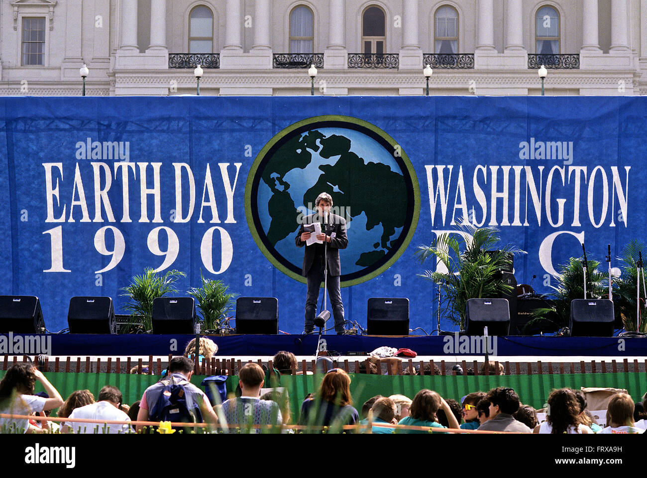 Washington, DC., USA 22nd April, 1990 Actor Richard Gere addresses the crowd of thousands that gathered on the west - Stock Image