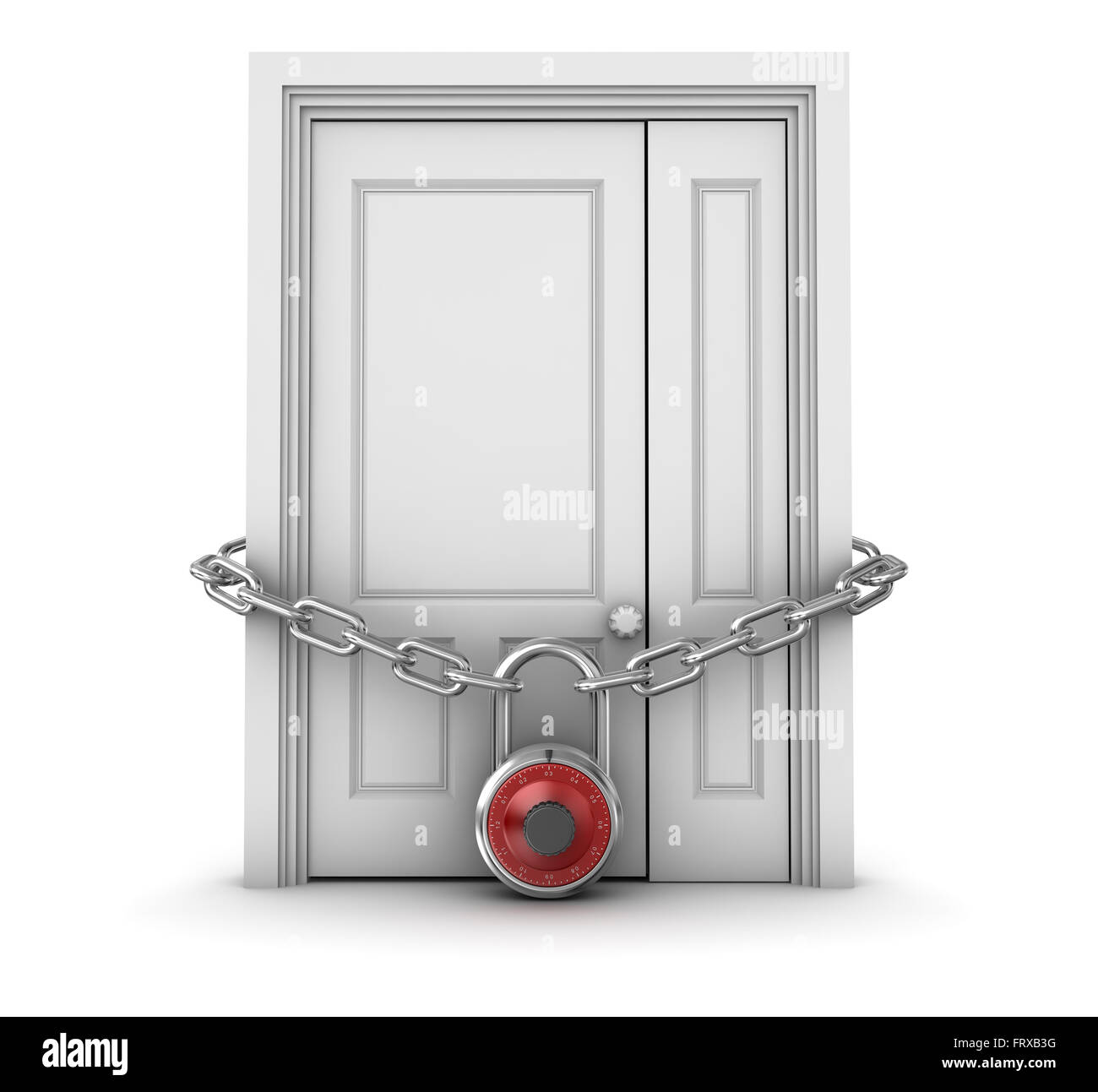 Locked Door , This is a computer generated and 3d rendered picture. - Stock Image