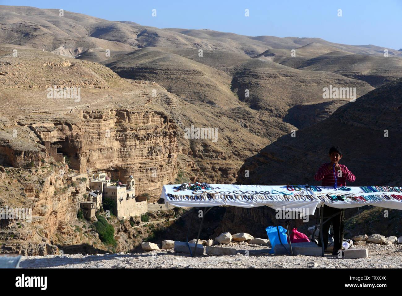 Street vendor over the St George monastary near Jericho, Palestine near Israel - Stock Image