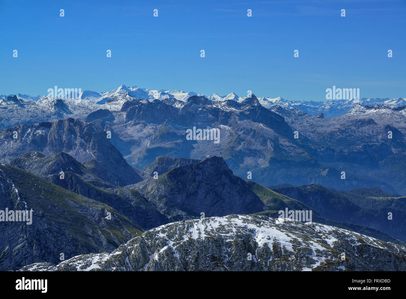View from mount Hoher Goell to Steineres Meer and Hochkoenig, Berchtesgaden National Park, Berchtesgaden Alps, Upper Stock Photo