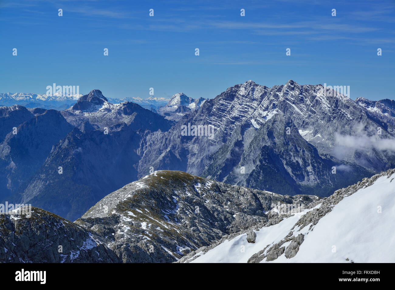 View from mount Hohe Goell over mountain scenery, Berchtesgaden National Park, Berchtesgaden Alps, Upper Bavaria, Stock Photo