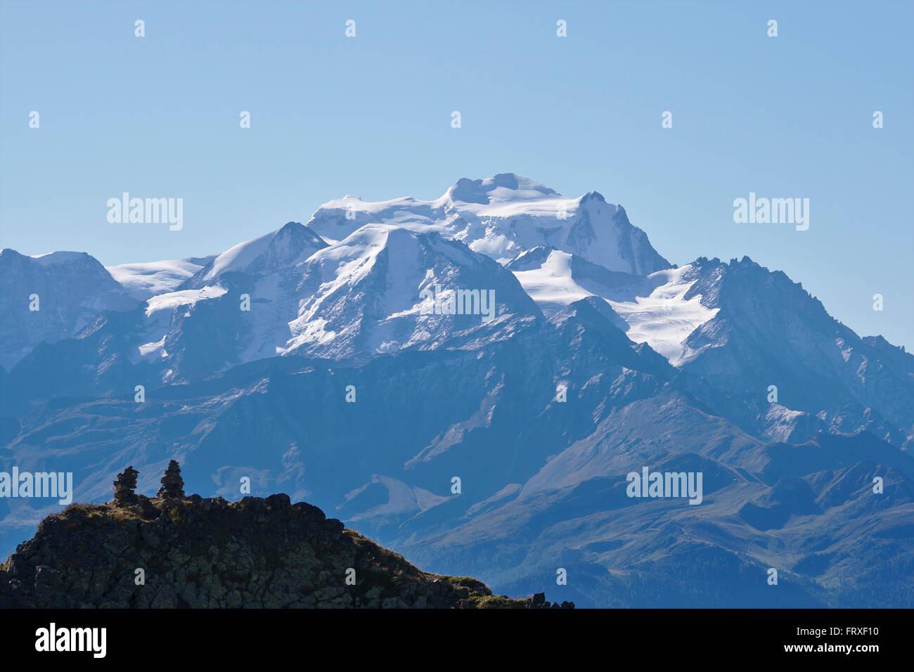 Grand Combin, seen from Demecre near Martigny, Switzerland - Stock Image