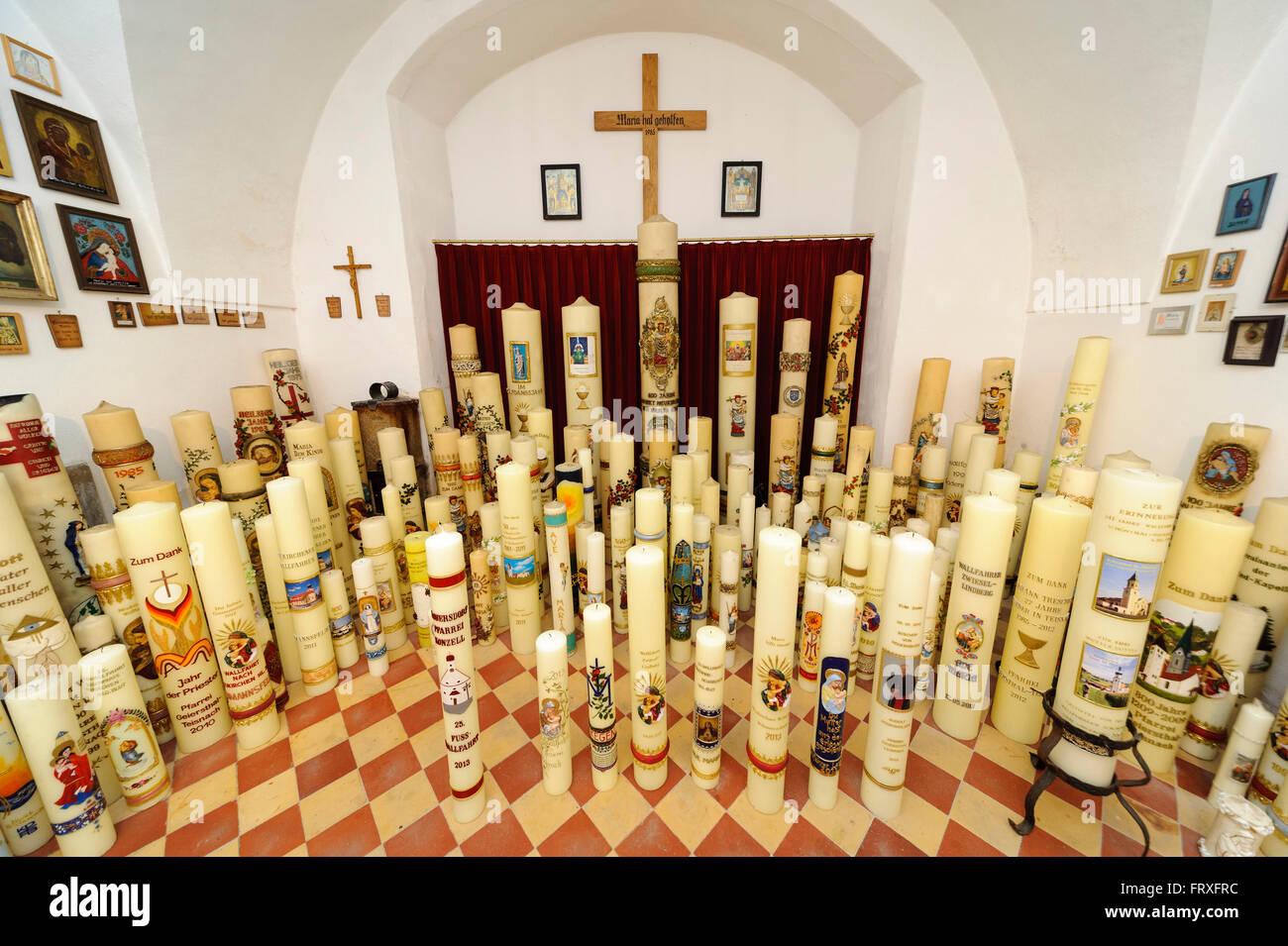 Candles in the pilgrimage church Neukirchen beim Heiligen Blut, Bavarian Forest, Bavaria, Germany - Stock Image