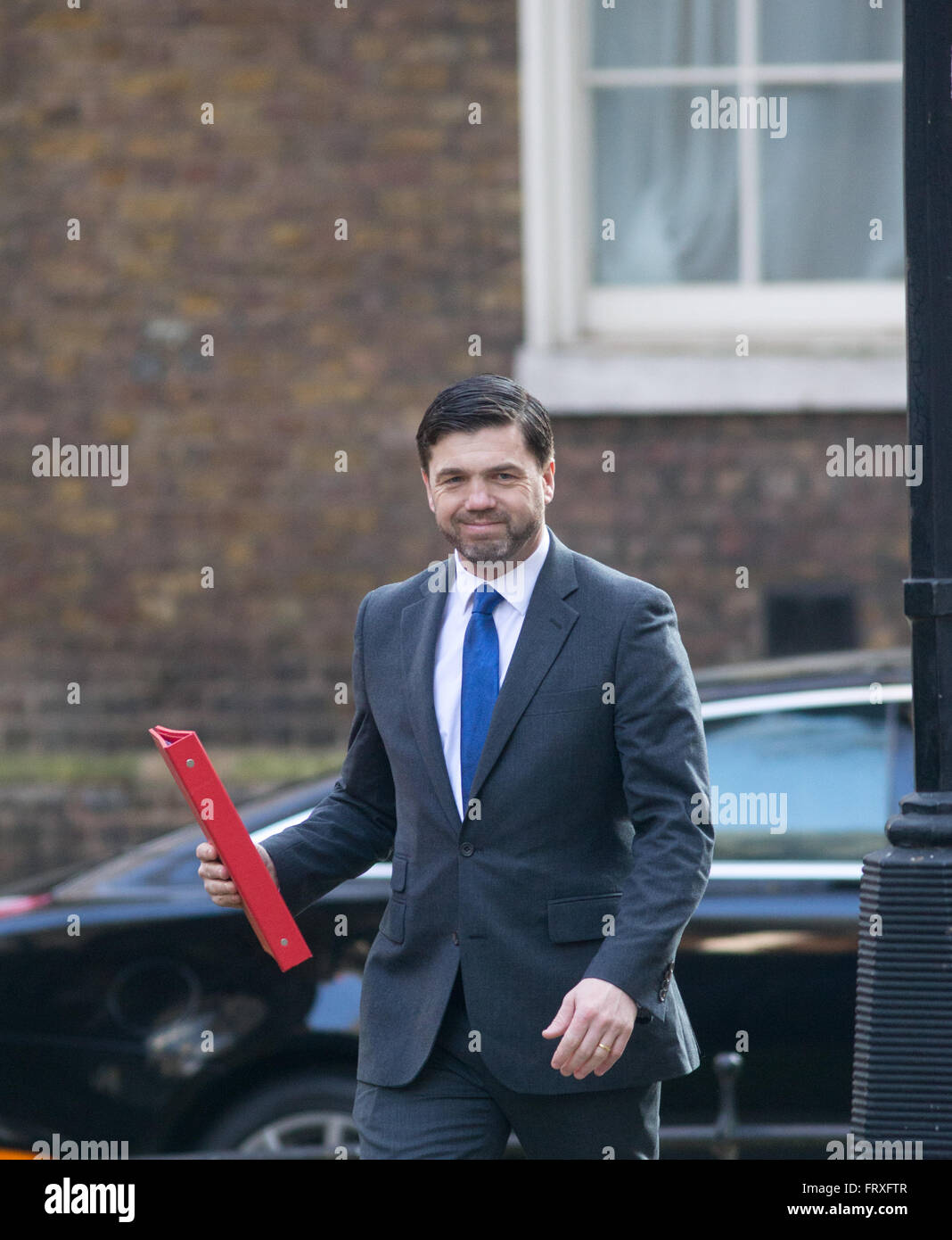 Work and pensions secretary,Stephen Crabb,arrives at number 10 Downing Street.He has replaced Iain Duncan Smith - Stock Image
