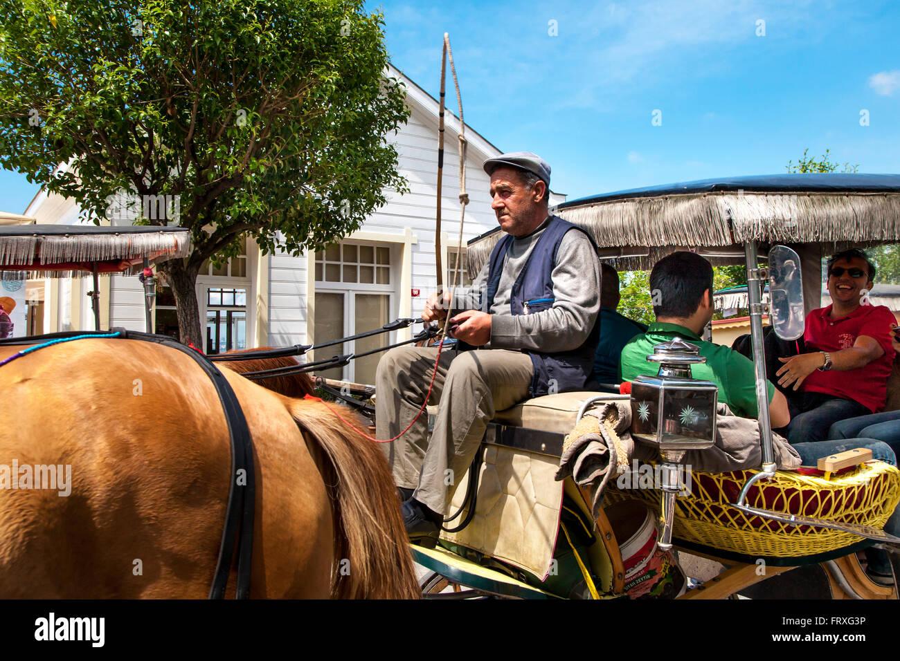 Horse drawn tourist carriage, Buyukada Island, Princess Islands, Marmara Sea, Istanbul, Turkey - Stock Image