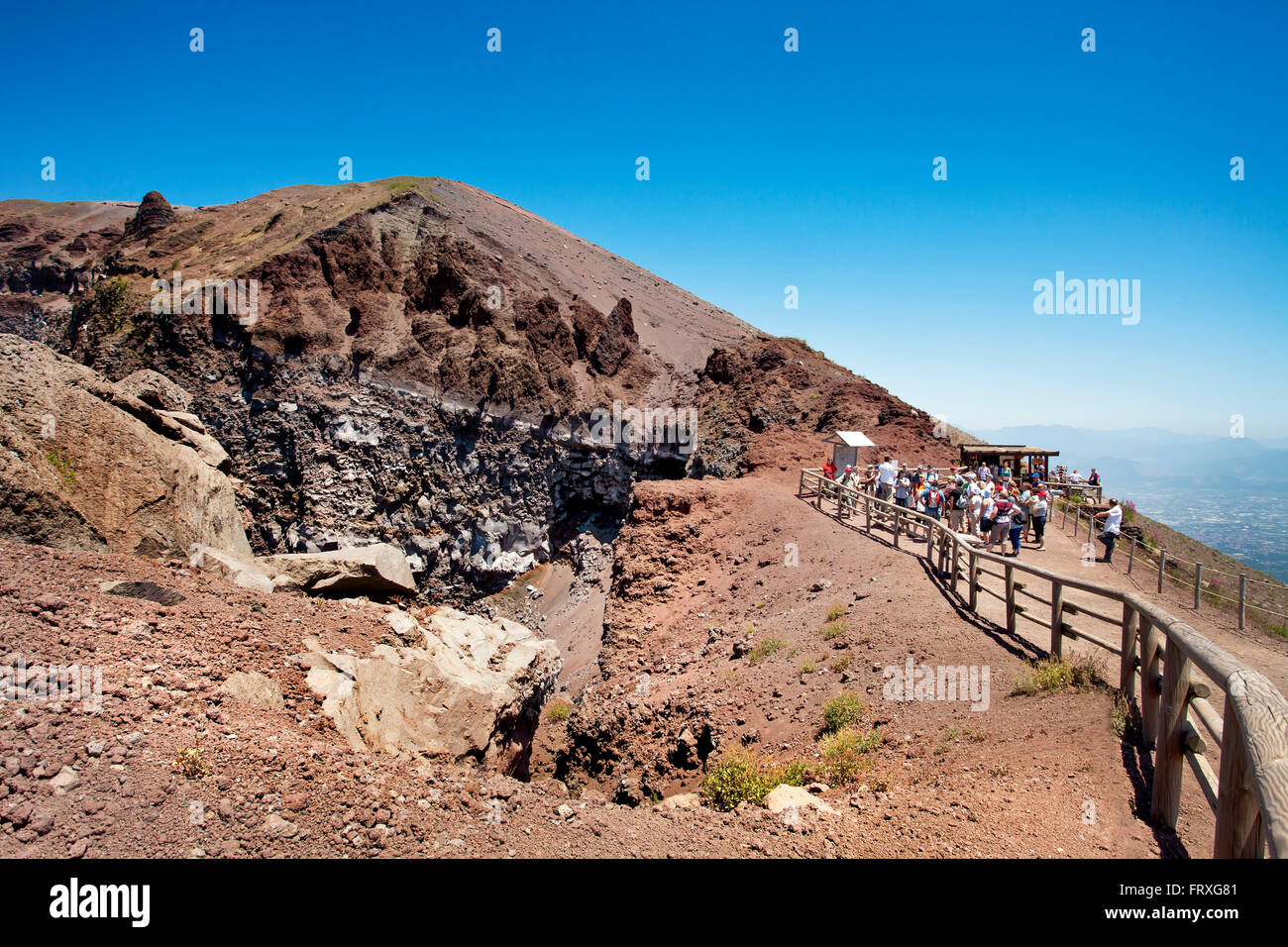 View in the crater of Vesuvius, Naples, Bay of Naples, Campania, Italy - Stock Image