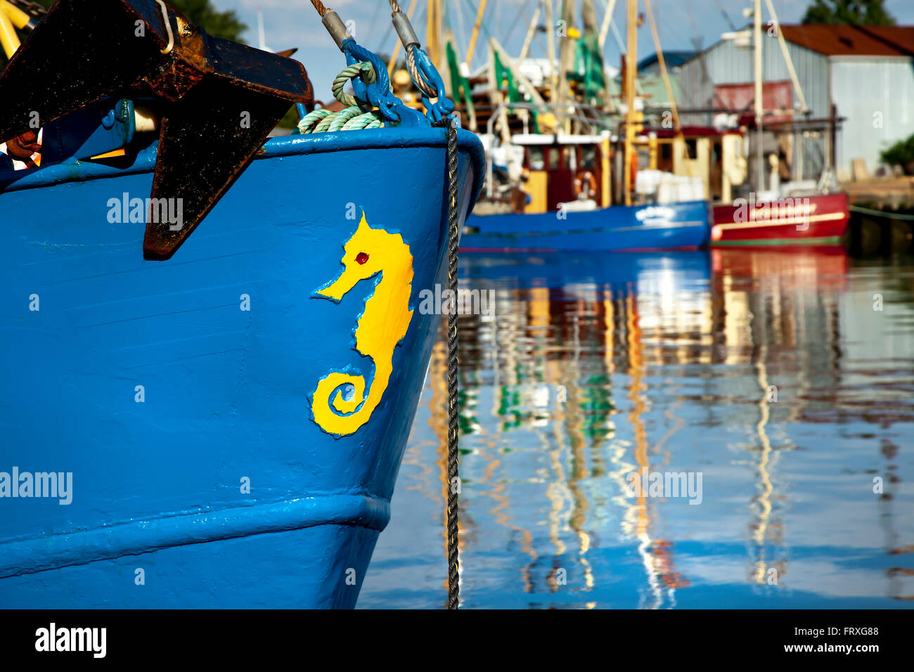 Fishing boats in the harbour, Buesum, Dithmarschen, North Sea coast, Schleswig-Holstein, Germany - Stock Image