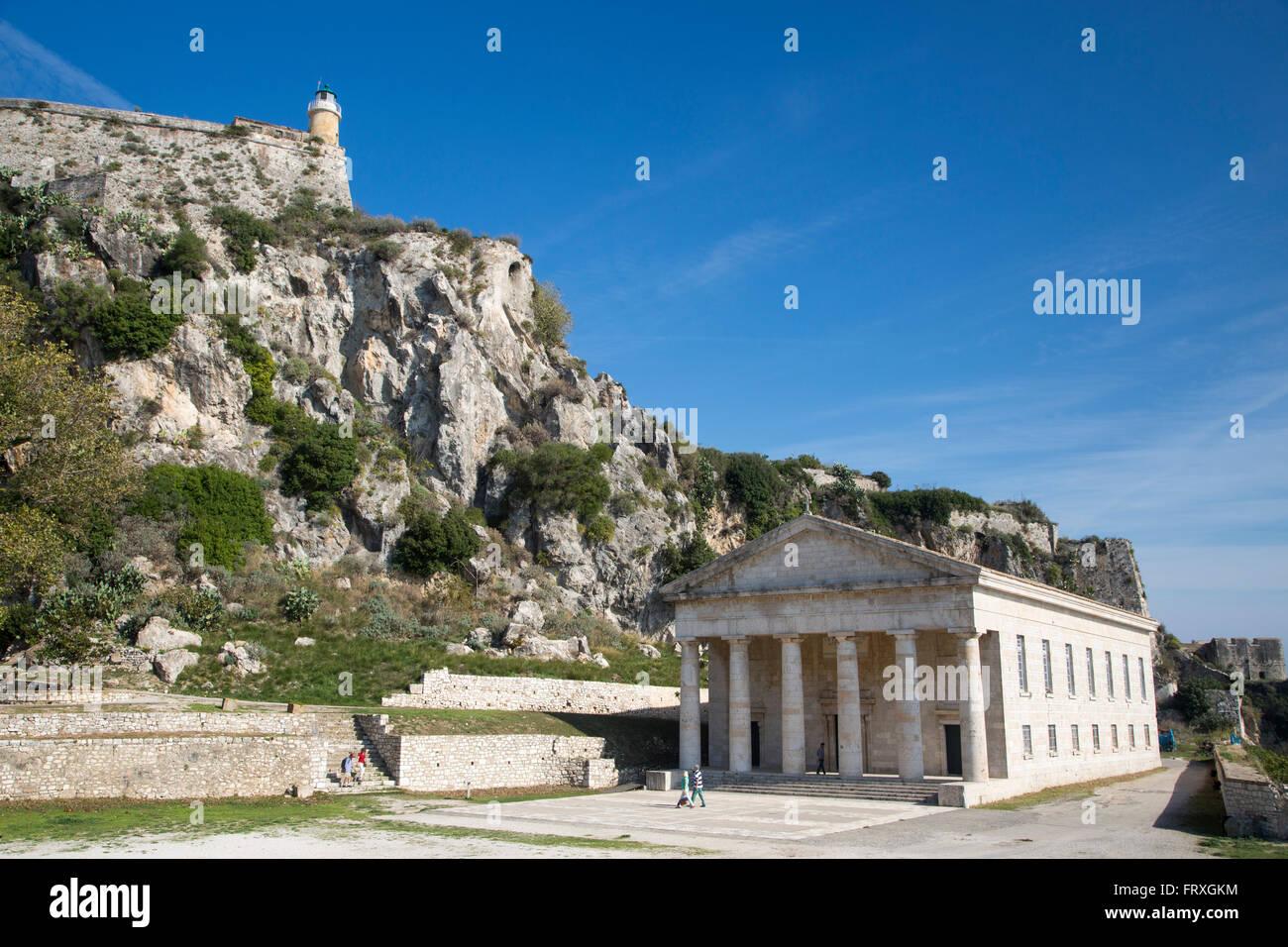 Buildings in the old Fortress, Kerkyra, Corfu Town, Corfu, Ionian Islands, Greece - Stock Image