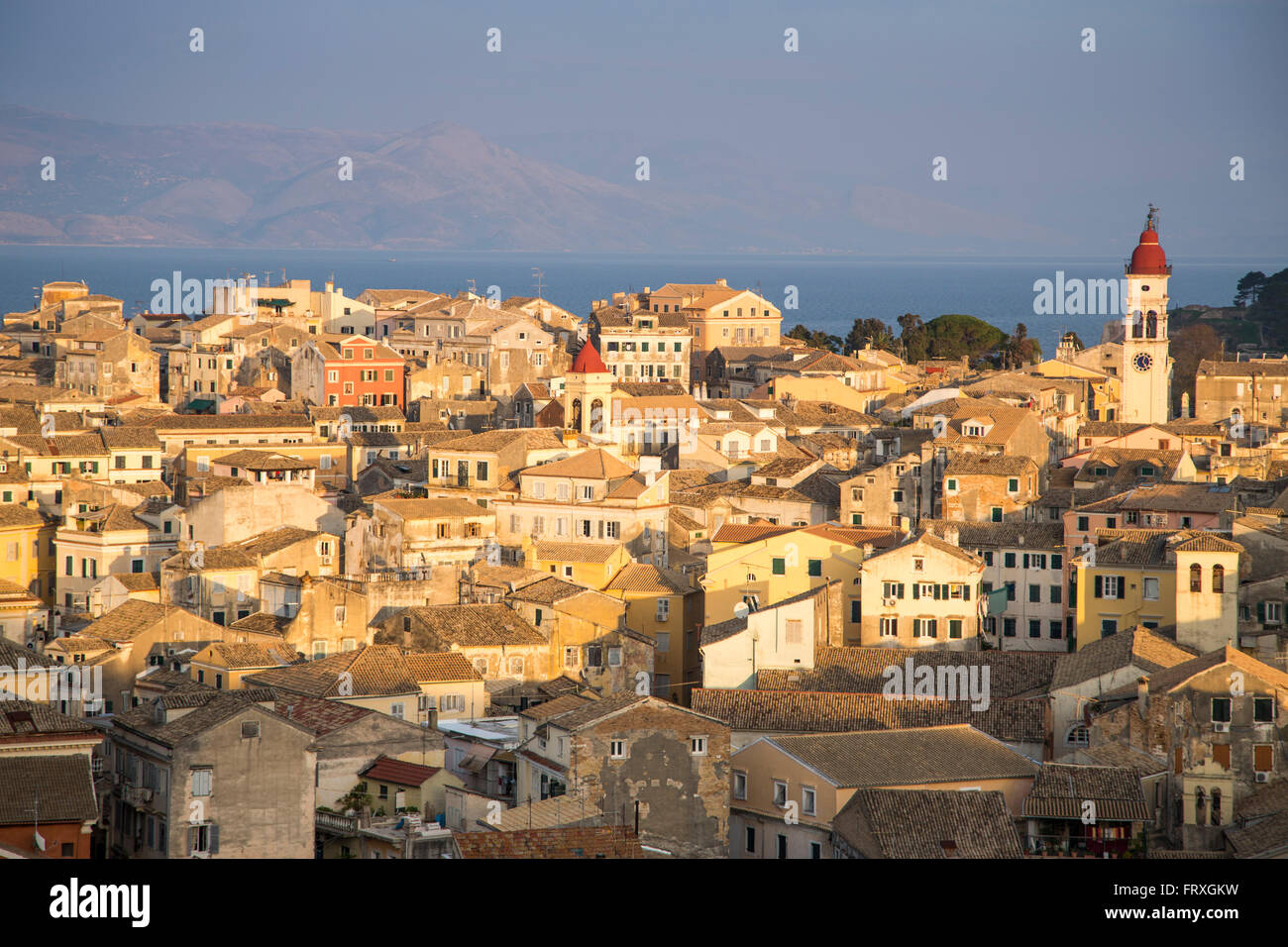 Old Town buildings seen from the New Fortress, Kerkyra, Corfu Town, Corfu, Ionian Islands, Greece - Stock Image