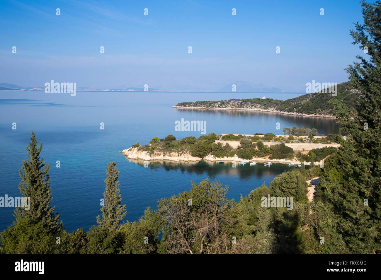 Pristine coastline, near Frikes, Ithaca, Ionian Islands, Greece - Stock Image