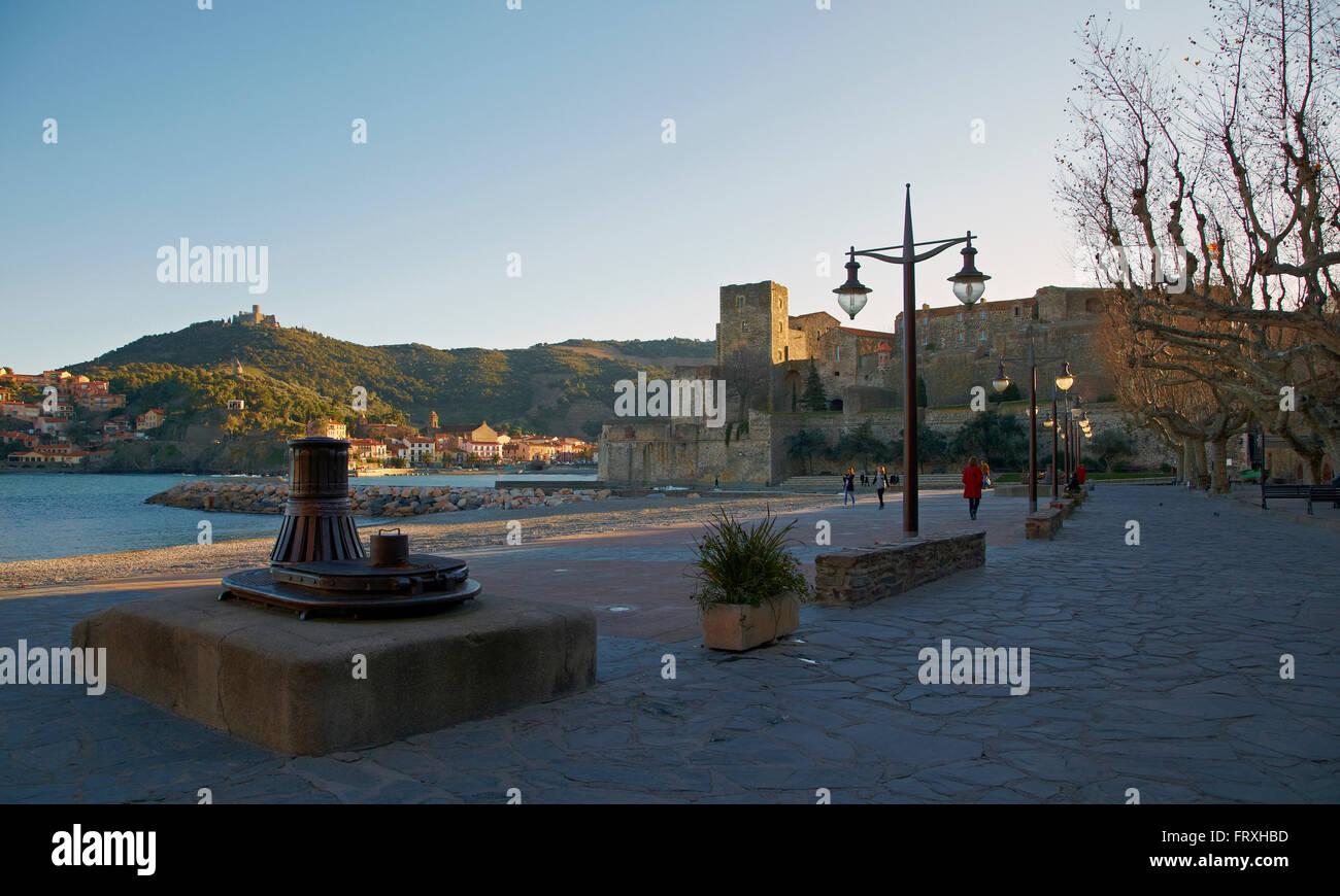 Collioure, Harbour and Château Royal des Templiers, Côte Vermeille, Mediterranean, Dept. Pyrénées - Stock Image